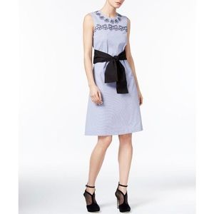 Y.Yigal Pinstriped Embroidered Dress